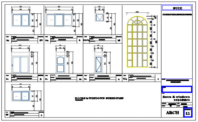 Door window detail design drawing of residential building design drawing