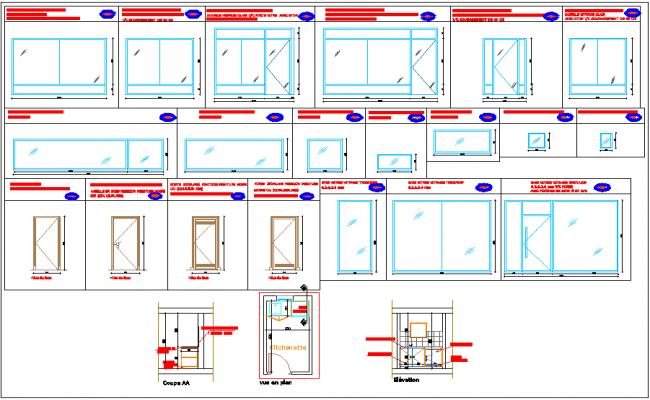 Door window elevation view detail dwg file