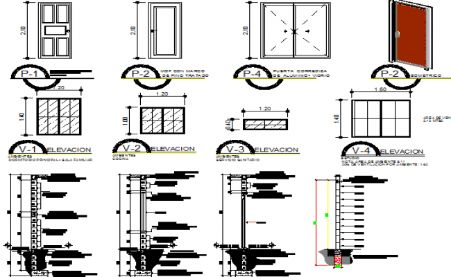 Doors and window installation details of house dwg file