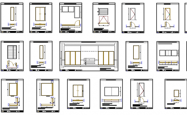 Doors and window installation with aluminium section details dwg file