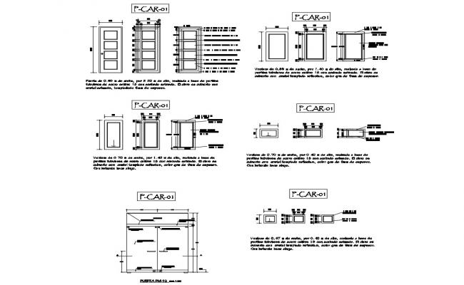 Doors and windows installation and car pantry details of hospital dwg file