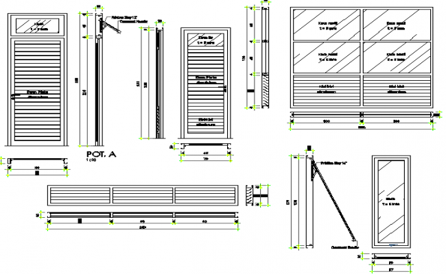 Doors & windows installation details of shopping center dwg file