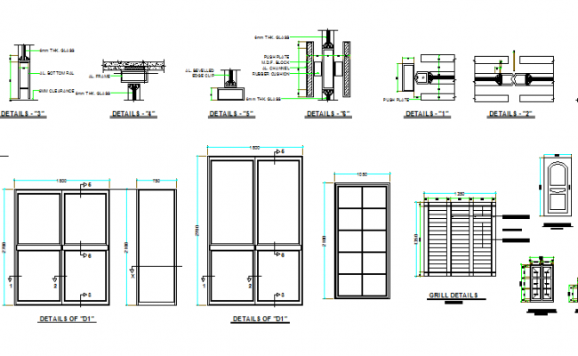 doors and windows installation with grill dwg file