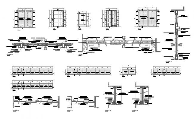 Doors installation and car pantry cad drawing details dwg file