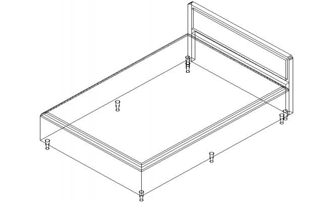 Double bed 3 d plan detail