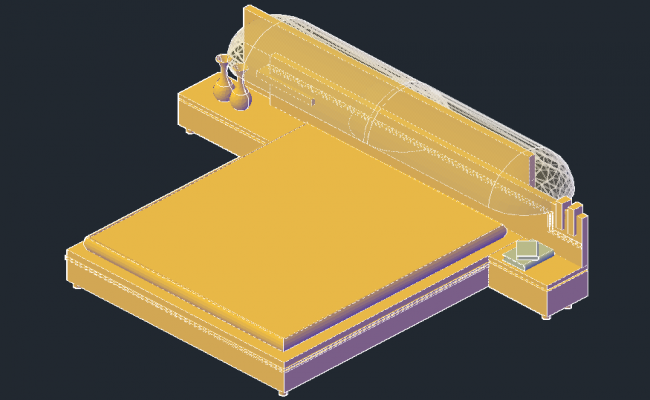 Double bed 3D drawing in dwg file