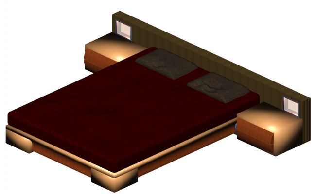 Double bed 3d model detail elevation 2d view autocad file