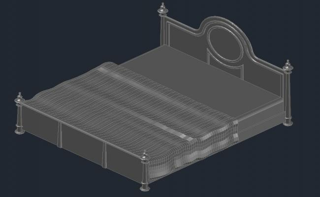 Double bed design in AutoCAD file