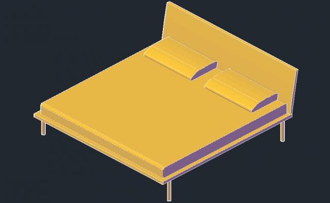 Double bed drawing in 3D