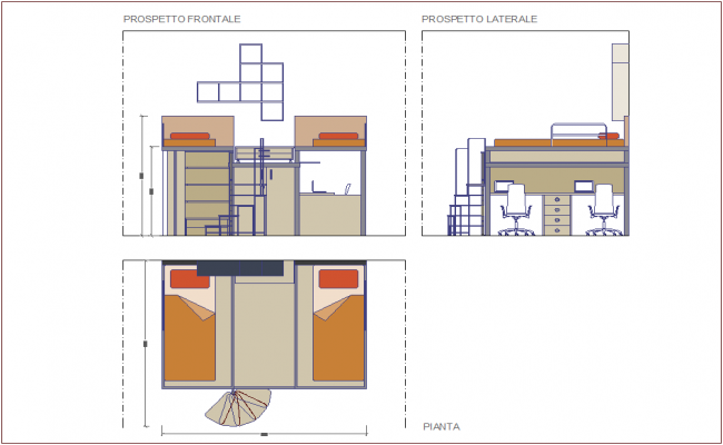 Double bed furniture plan,elevation and side view dwg file