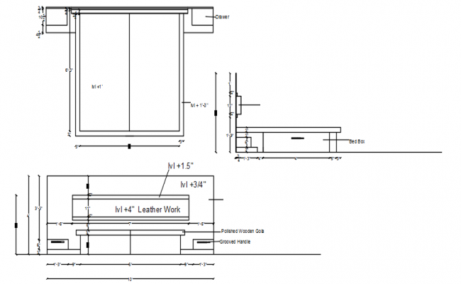 Double bed layout in dwg file