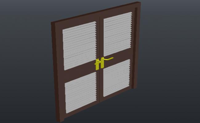Double door design 3d view with door handle and air way dwg file