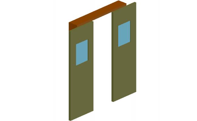 Double door design view with wooden frame in 3d dwg file