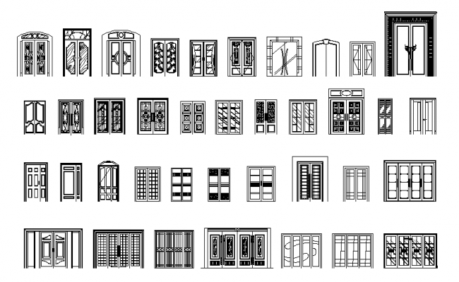 Hotel Front Elevation Cad Drawings : Double door elevation dwg file