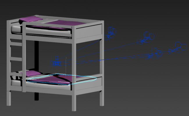 Double level bed detail 3d model layout 3d max file