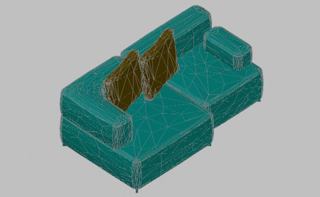 Double seated sofa set elevation 3d block cad drawing details dwg file