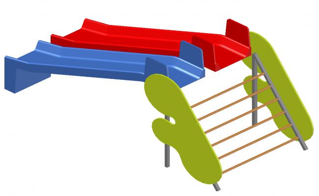 Double slider detail elevation 3d model autocad file
