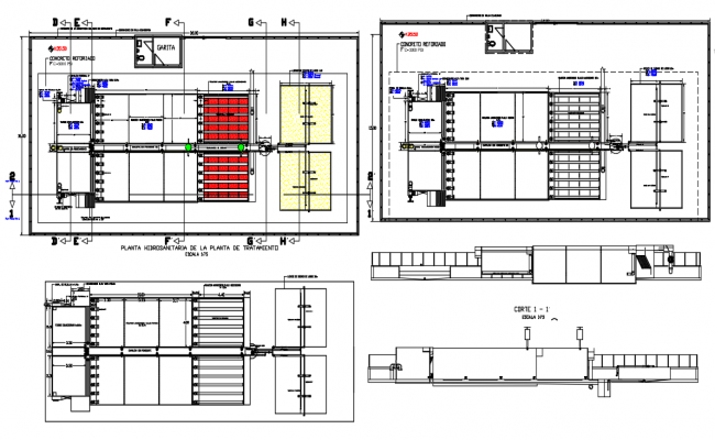 Double water line view in process of water treatment plant hydraulic view dwg file