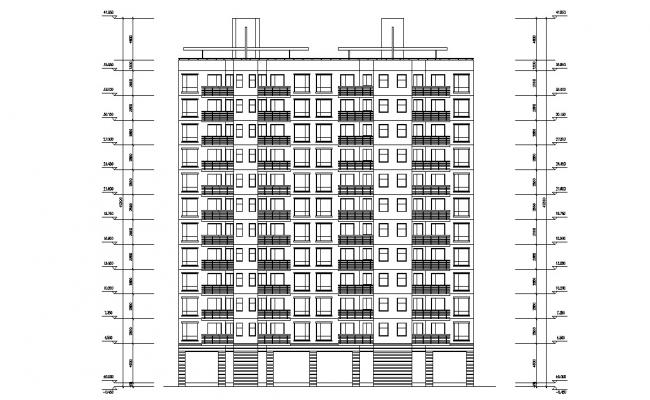 Download Apartment Building Elevation AutoCAD File Free