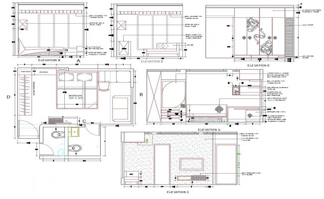 Download Bedroom Furniture Layout Plan AutoCAD Drawing