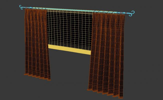 Download Curtains For Living Room Rendered Drawing 3D MAX File