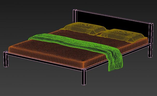 Download Free 3D Model of Double Bed Isometric Elevation Design