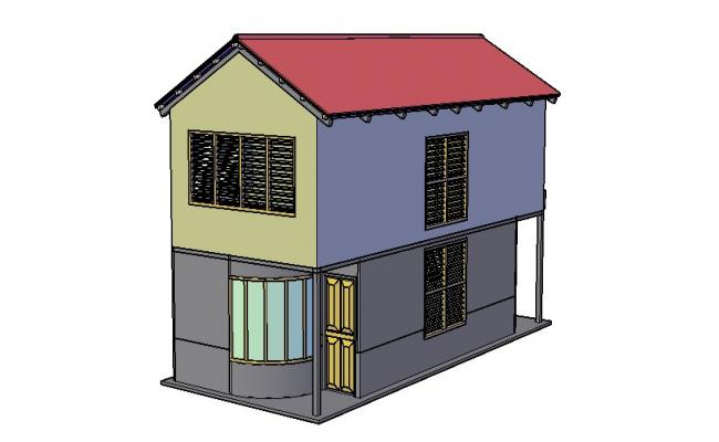Download Free Bungalow Elevation 3d In AutoCAD File