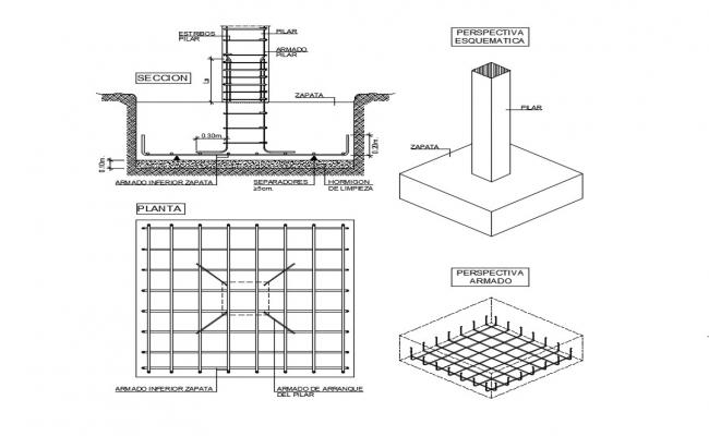 Download Free Concrete Footing Design In AutoCAD File