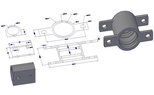 Download Free DWG File of Wall Mount Pipe Clamp Bracket