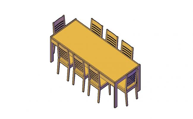 Download Free Dining Table Set 3D Model In DWG File