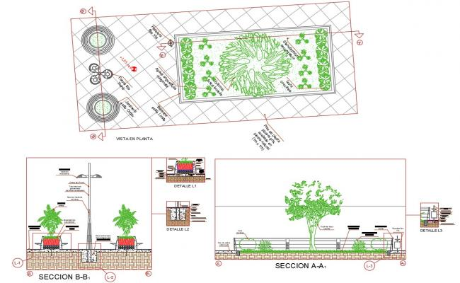 Download Free Garden With Street Light Installation CAD Drawing