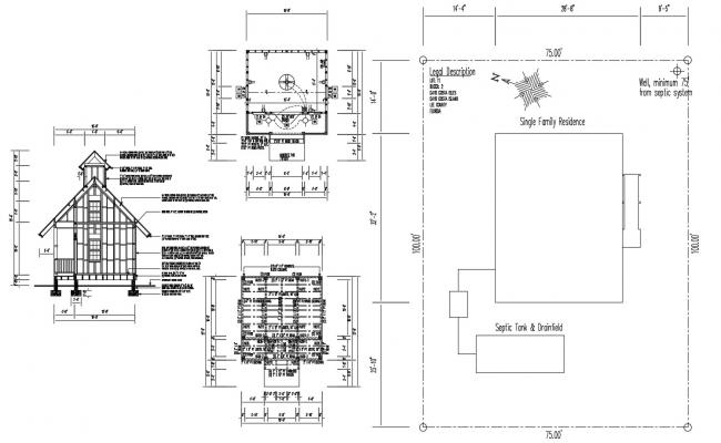 Download House Front Elevation With Floor Plans AutoCAD File