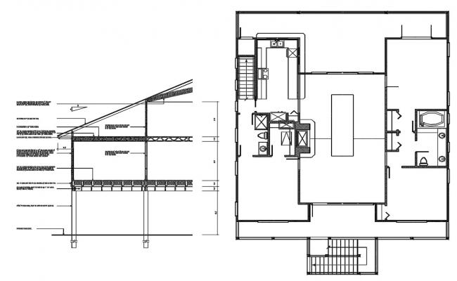 Download House Plan With Section CAD Drawing