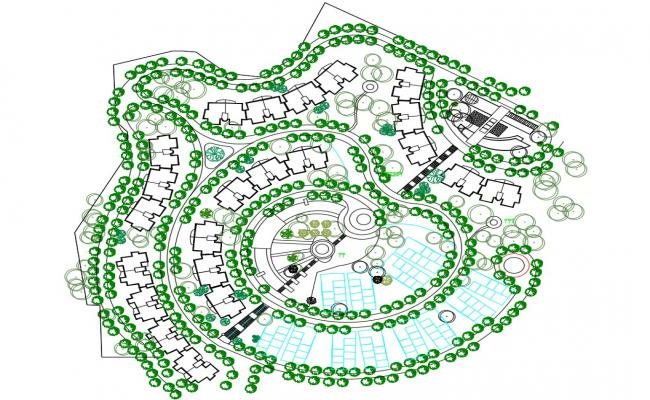 Download Master plan Of Twin Bungalow DWG File