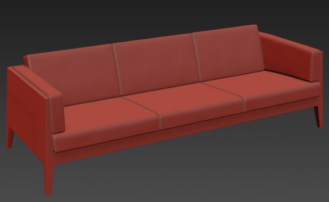 Download Modern Three Seater Sofa Rendered in 3D MAX File