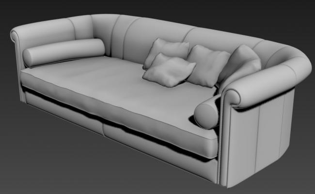 Download Old Style 3 Seater Sofa 3D MAX File