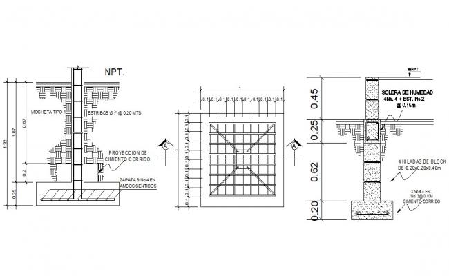 Download RCC Footing Design AutoCAD Drawing