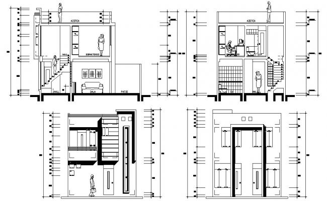 Download Residential Bungalow Elevation and Section CAD file