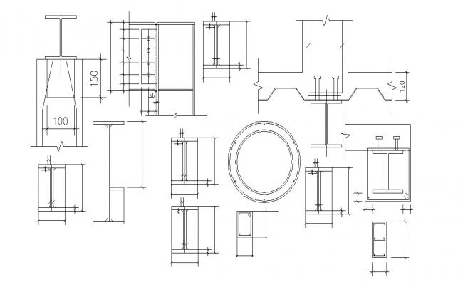 Download Structure I Section Beam Design  AutoCAD File