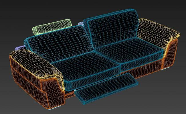 Download Stylish Modern Sofa With Footrest Rendered in 3D MAX File