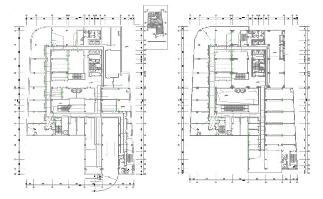 Download The Commercial Building Floor Plan With Working Drawing AutoCAD File