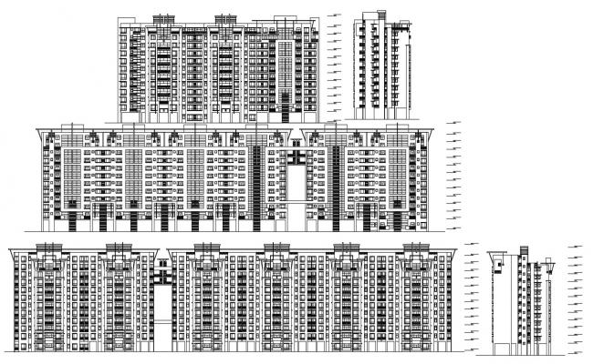 Download The High Rise Modern Apartment Elevations AutoCAD File