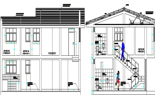 Draft Local Community Office Architecture Layout and Section Details dwg file