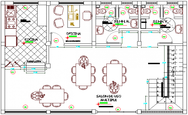 Draft Local Community Office Architecture Layout and Structure Details dwg file