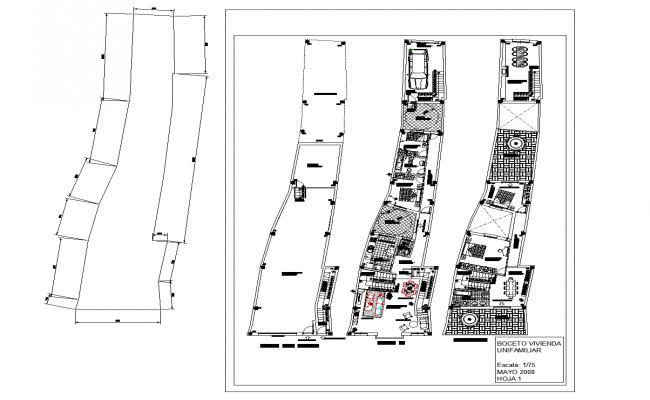 Draft housing in plot plan detail dwg file.