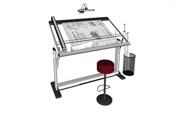 Drafting machine and table 3d model cad drawing details skp file