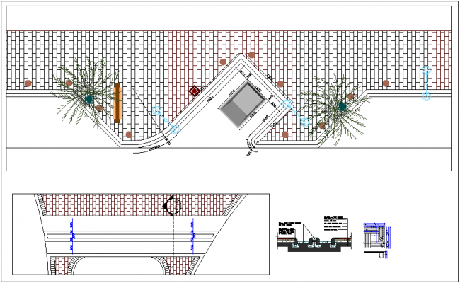 Drain Chanel and tree grate construction detail dwg file