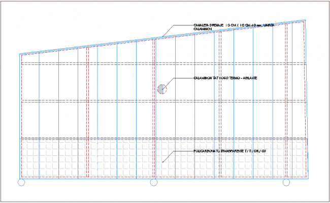 Drain channel view with distribution of area dwg file