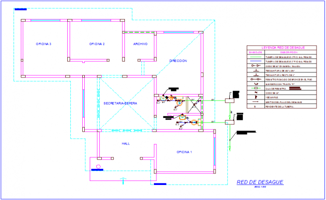 Drain network single line view with its legend for office dwg file