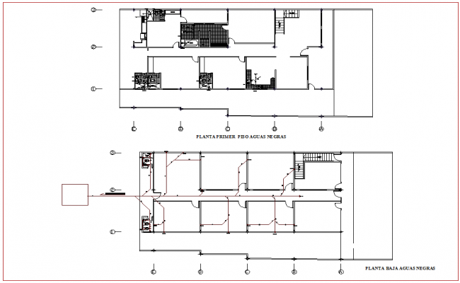 Drain water line plan for housing floor plan with architectural view dwg file